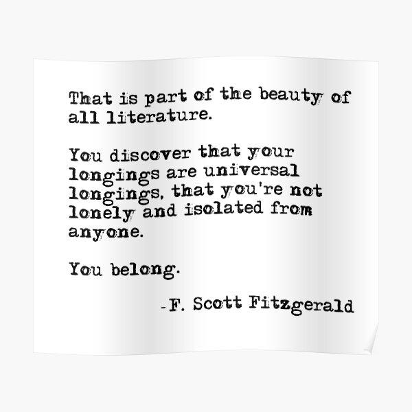 La belleza de toda la literatura - F Scott Fitzgerald Póster