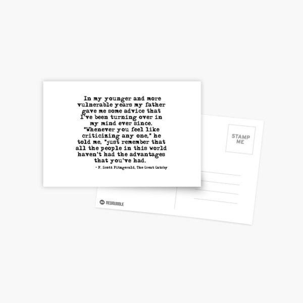 In my younger and more vulnerable years - F Scott Fitzgerald Postcard