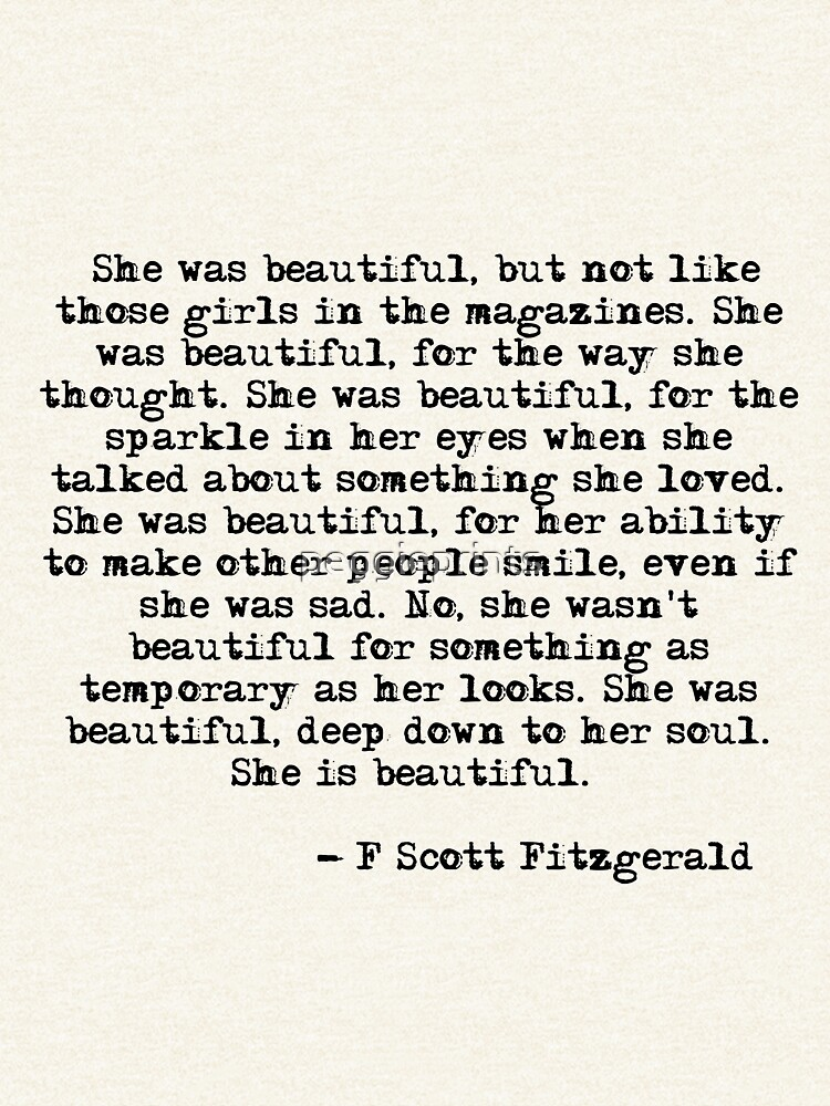 She was beautiful - F Scott Fitzgerald by peggieprints