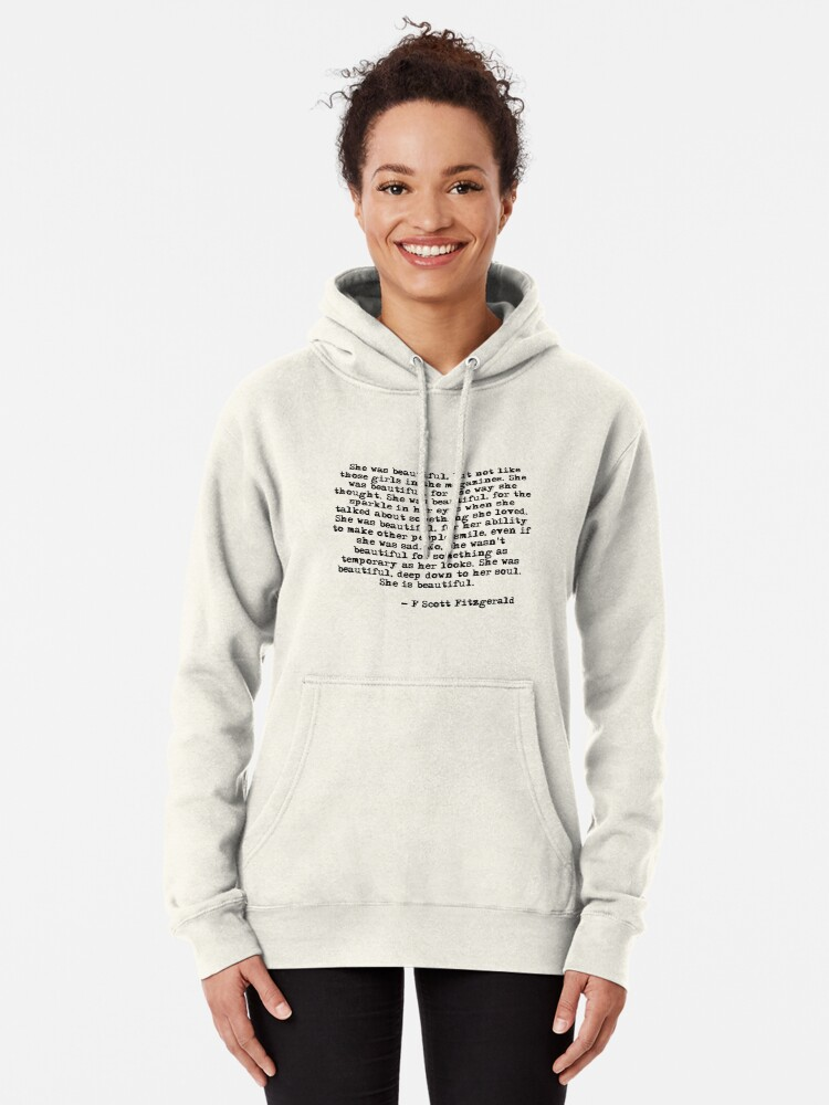 Alternate view of She was beautiful - F Scott Fitzgerald Pullover Hoodie