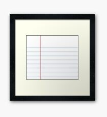Notebook Paper Graphic - Thin Lines Framed Print