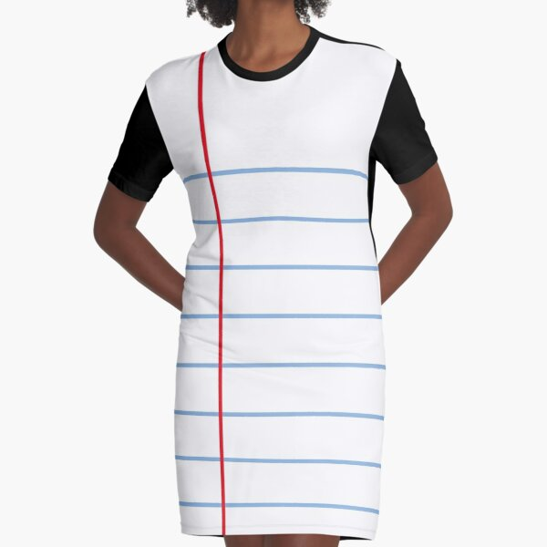 Notebook Paper Graphic - Wide Lines Graphic T-Shirt Dress