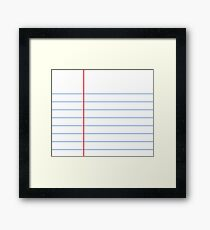 Notebook Paper Graphic - Wide Lines Framed Print