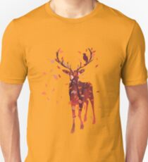Silhouette of a deer with fall forest inside Unisex T-Shirt