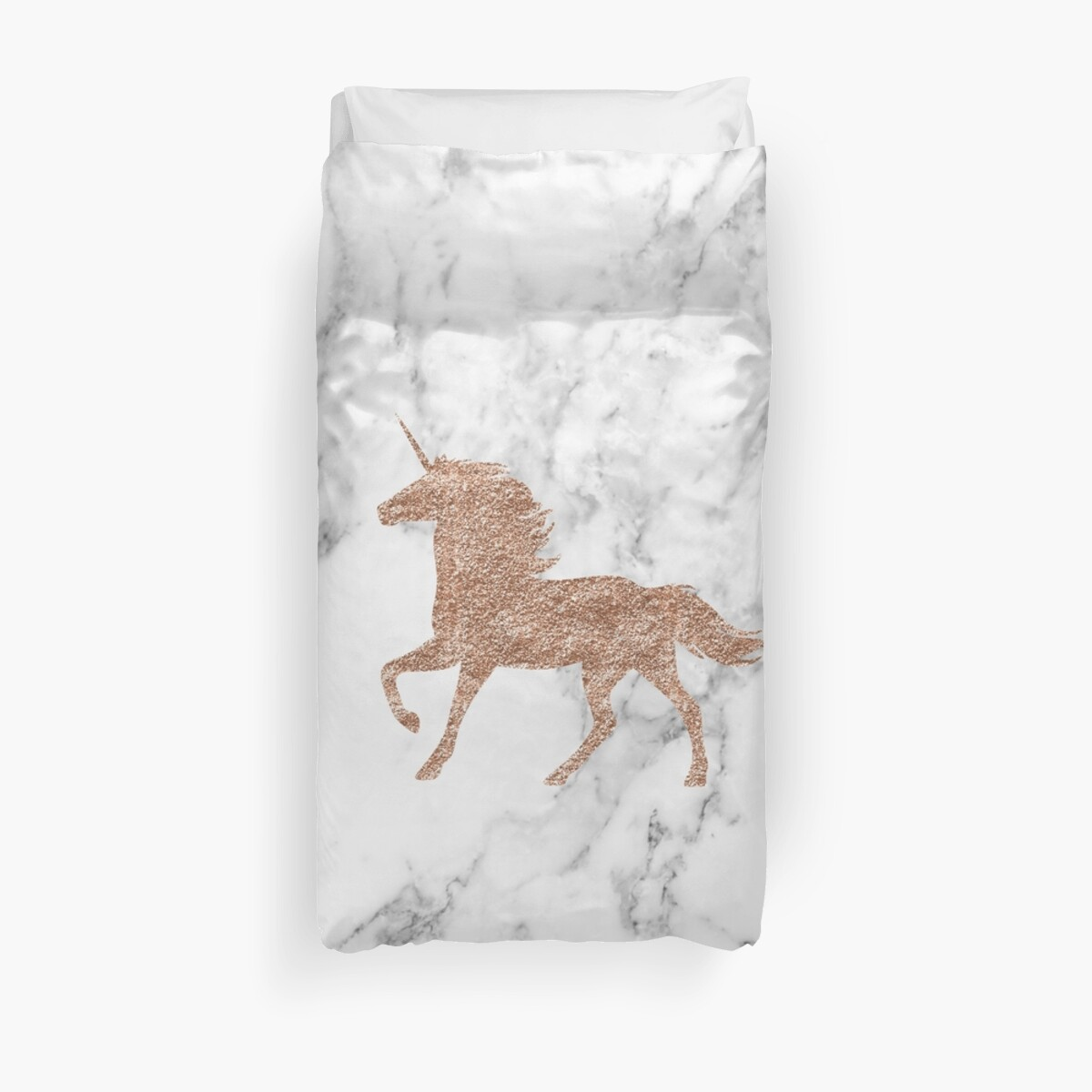 Quot Rose Gold Marble Unicorn Quot Duvet Covers By Peggieprints