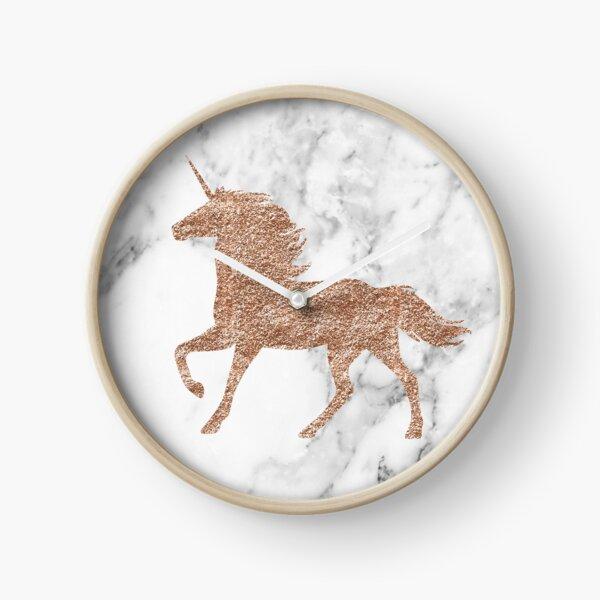 Rose gold marble unicorn Clock