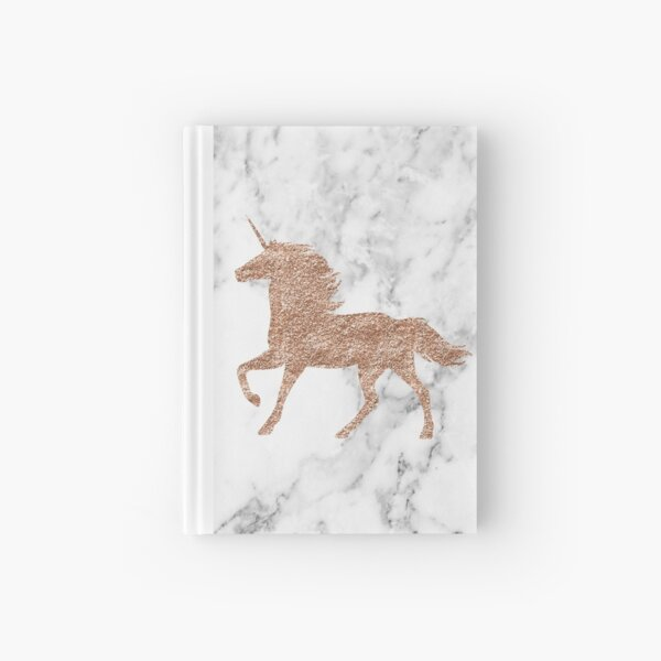 Rose gold marble unicorn Hardcover Journal