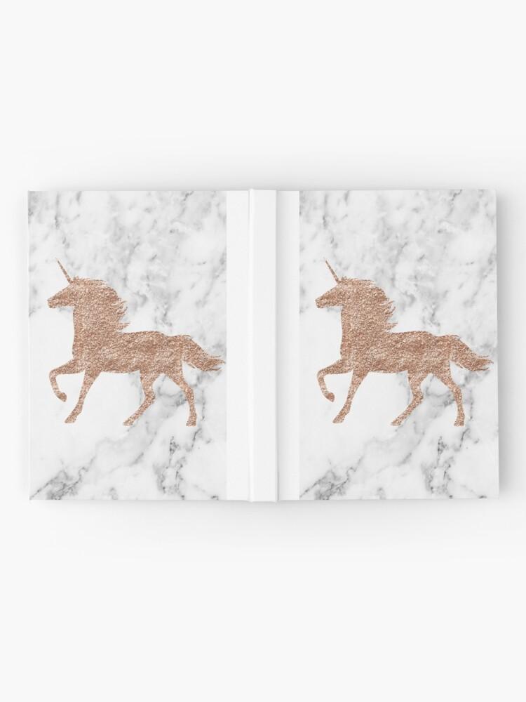 Alternative Ansicht von Rosen-Goldmarmor-Einhorn Notizbuch