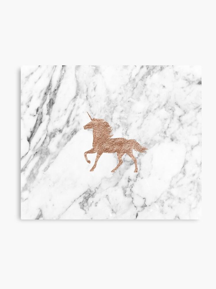Rose Gold Marble Unicorn Metal Print By Peggieprints