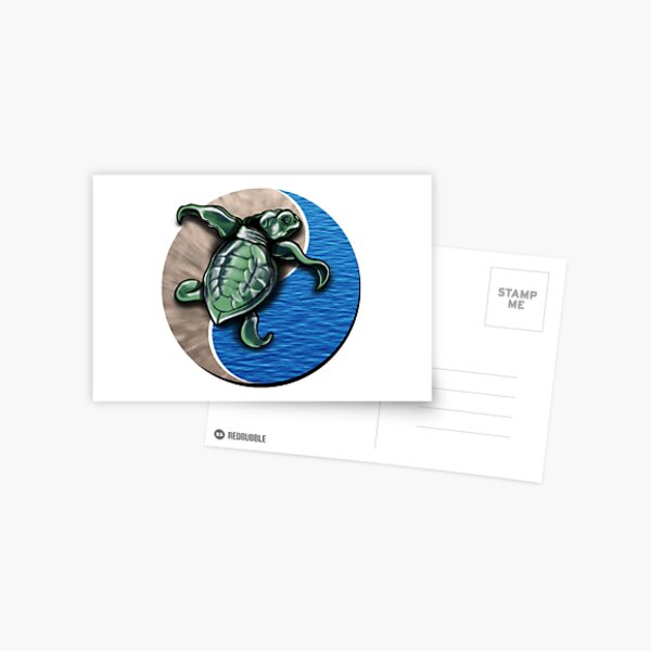 Turtle water and sand yin yang  Postcard