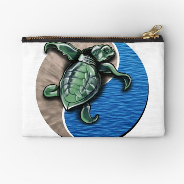 Turtle water and sand yin yang  Zipper Pouch