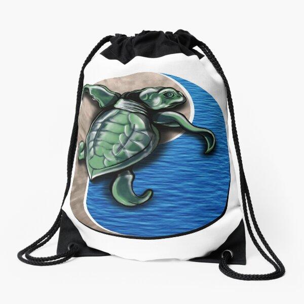 Turtle water and sand yin yang  Drawstring Bag