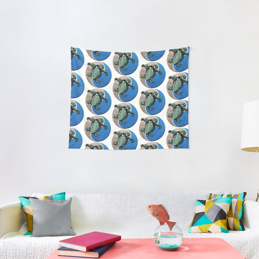 Turtle water and sand yin yang  Tapestry