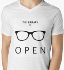The Library is Open Men's V-Neck T-Shirt