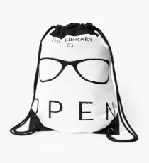 The Library is Open Drawstring Bag