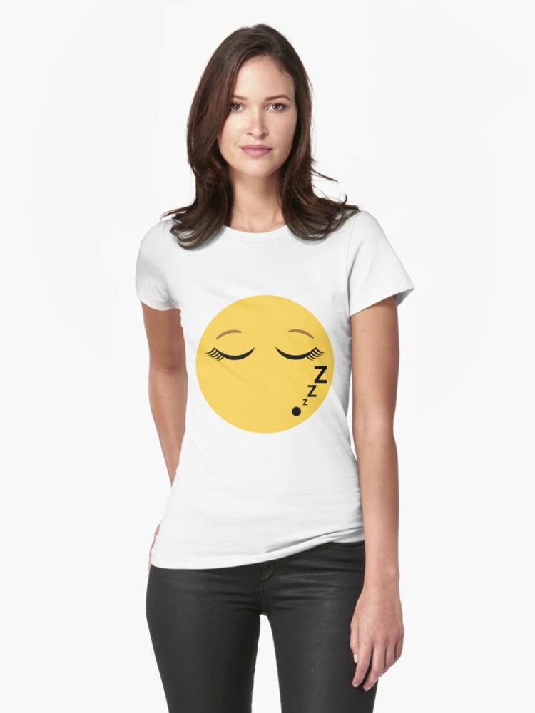 sleeping emoji with eyelashes womens t shirt by p31apparel redbubble