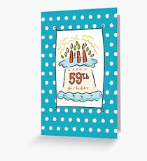59th Birthday Cake on Blue Teal with Dots Greeting Card