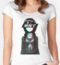 ALONE JAPANESE SAD AESTHETIC  Women's Fitted Scoop T-Shirt