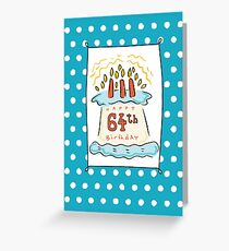 64th Birthday Cake on Blue Teal with Dots Greeting Card