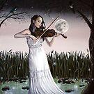 Reverie - Girl playing Violin in Moonlight by plantiebee