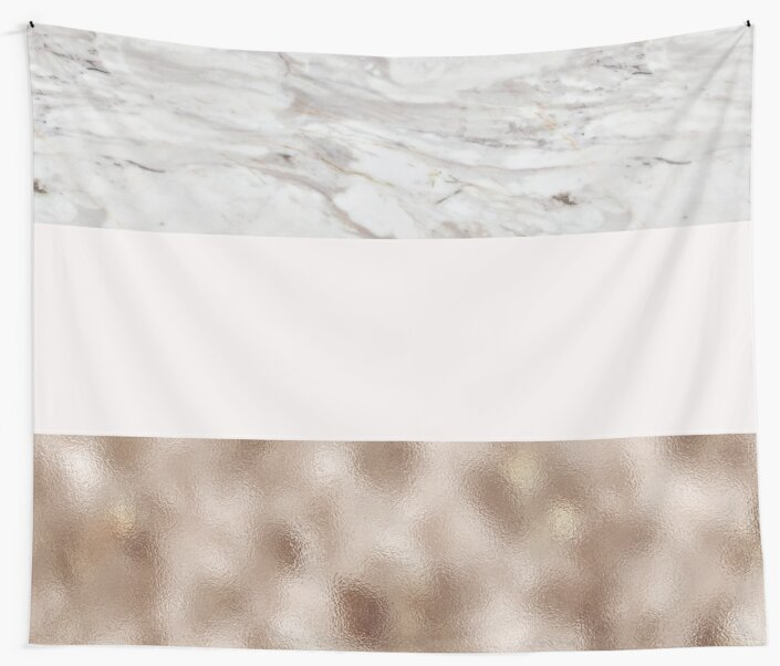Pastel striping - taupe tones marble & rose gold by marbleco