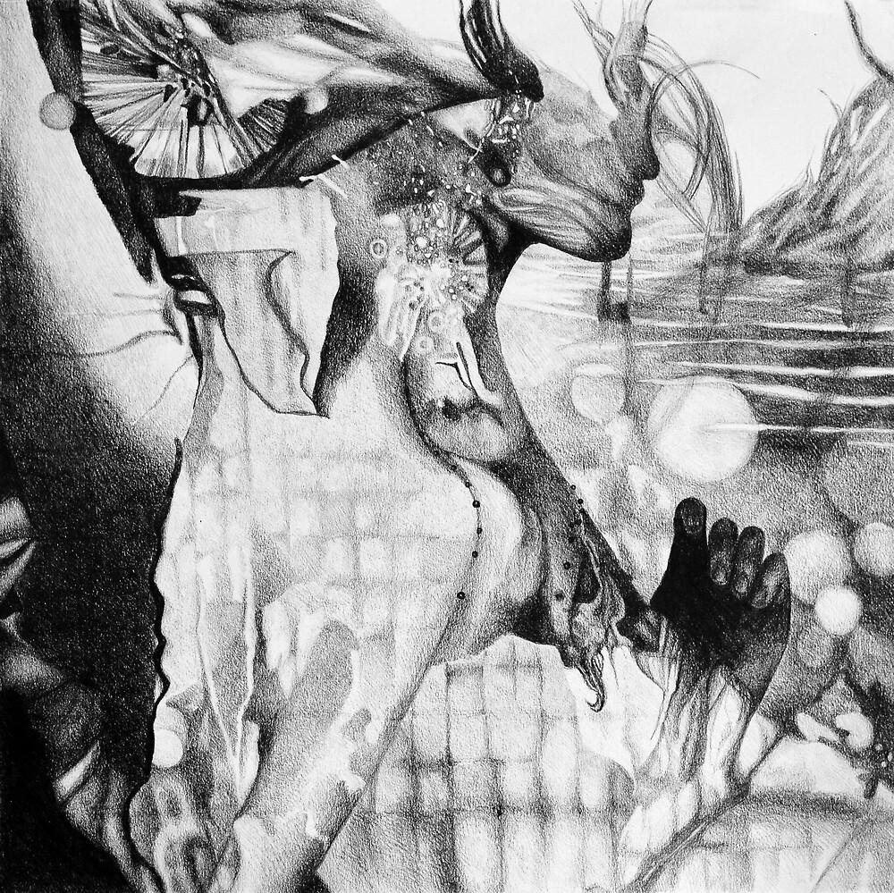 Feel my heart burning, 2017, 50-50cm, graphite crayon on paper by oanaunciuleanu