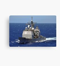 The guided-missile cruiser USS Chancellorsville transits the Pacific Ocean. Canvas Print