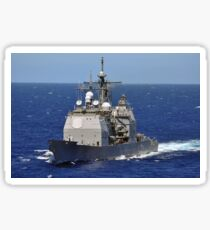 The guided-missile cruiser USS Chancellorsville transits the Pacific Ocean. Sticker