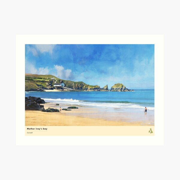Mother Ivey's Bay, Cornwall, Travel Poster (Landscape) Art Print