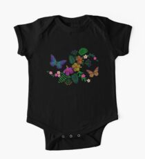 Exotic flowers and butterflies. Embroidery. One Piece - Short Sleeve