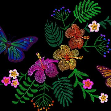 Exotic flowers and butterflies. Embroidery. by LuckyStep