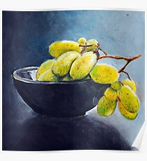 Painting of yellow grapes in a fruit bowl. Illustration Poster