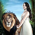 Leo Zodiac Painting - Girl with Lion by plantiebee