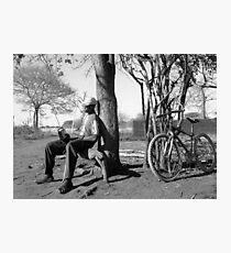 Man his bike and radio Photographic Print
