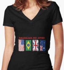BRAZILIAN JIU-JITSU INTERNATIONL Women's Fitted V-Neck T-Shirt