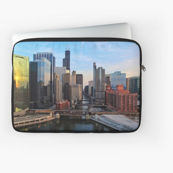Chicago River and Skyline Laptop Sleeve