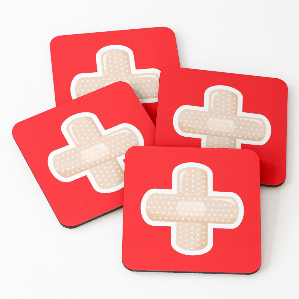 First Aid Plaster Coasters (Set of 4)