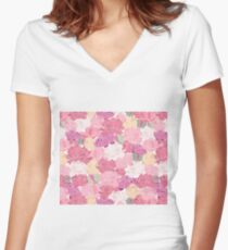 Blushing peonies Women's Fitted V-Neck T-Shirt