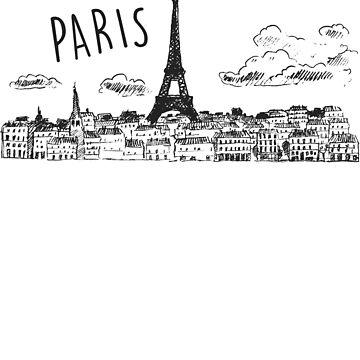 Paris Skyline T-Shirt - Cityscape by absha2018