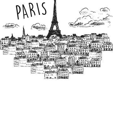 Paris Skyline and City Landscape T-shirt  by absha2018