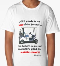 300+ Yards Is an Easy Drive for Me Funny Golfing Gift Design by Kitnabber White Long T-Shirt