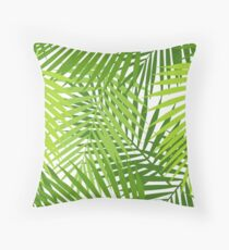 Palm leaf silhouettes seamless pattern. Tropical leaves. Throw Pillow