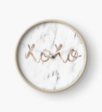 Rose Gold Marble XOXO Clock