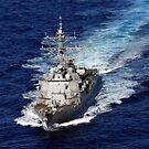 Der Lenkwaffenzerstörer USS Nitze transitiert den Atlantischen Ozean. von StocktrekImages