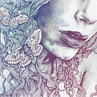 Ornaments: Rainbow (street art female pencil portrait with moths butterflies) by Marco Paludet