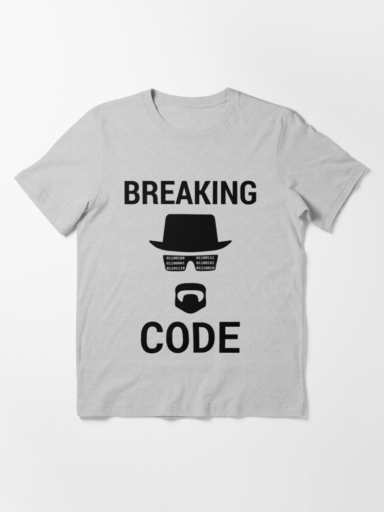 Alternate view of Breaking Code - Black Design for Computer Security Hackers Essential T-Shirt