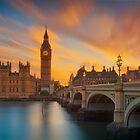 Big Ben orange Sunset by Delfino