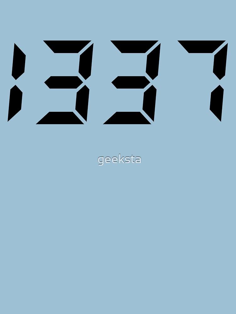 1337 - Leet Geek/Hacker Digital Clock Style Black Text by geeksta