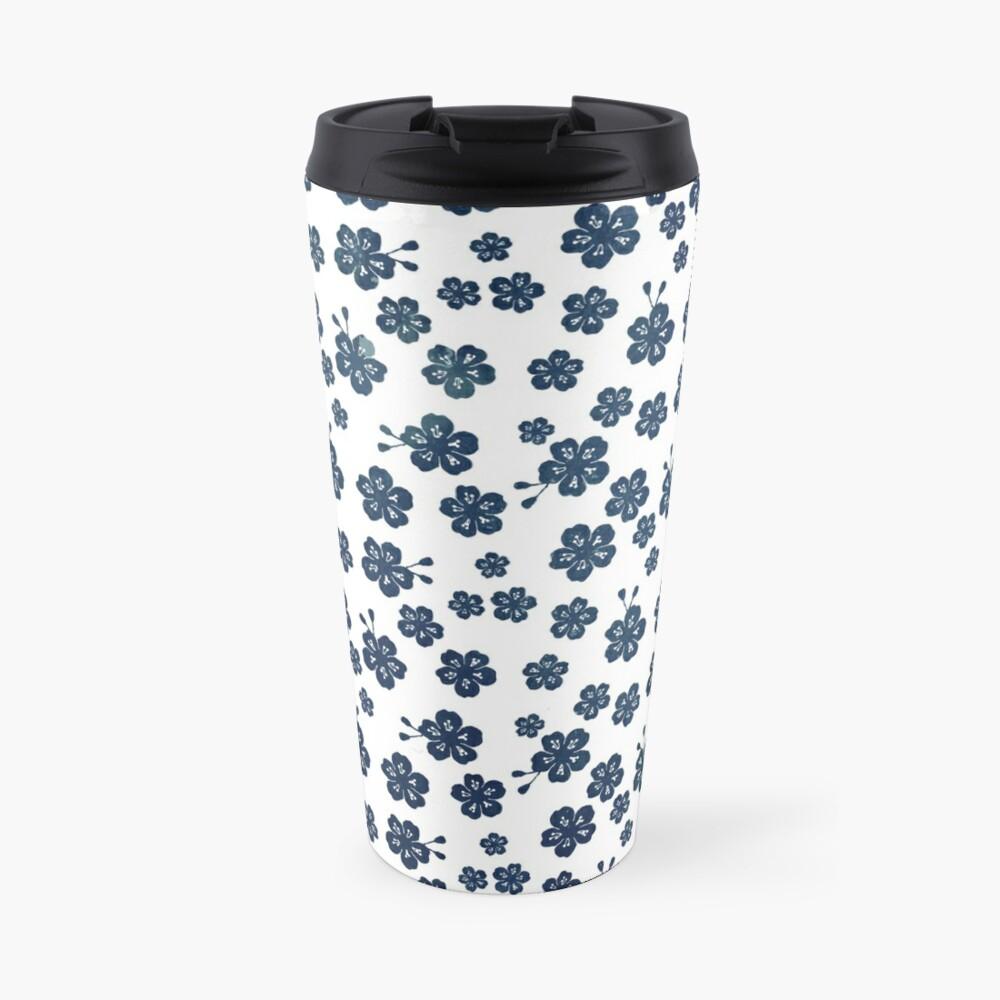 Navy blue scattered cherry blossom Travel Mug