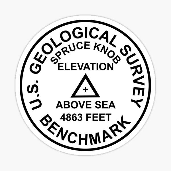 Gezierter Knopf, West Virginia USGS Style Benchmark Sticker